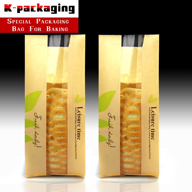 10 pcs Wholesale Green Leaf Bread Bags for Homemade Bread Paper Toast Bag Sandwich Pouch #10484