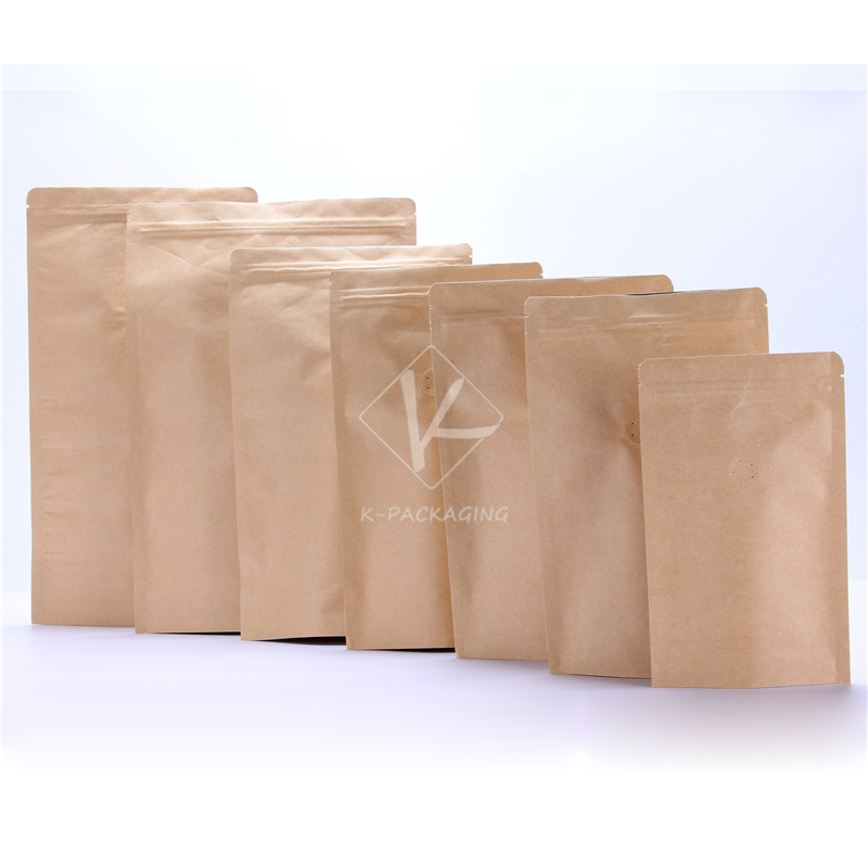 5 Pcs Wholes Thick Kraft Ziplock Stand Up Pouch Custom Coffee Bags With Valve 10561