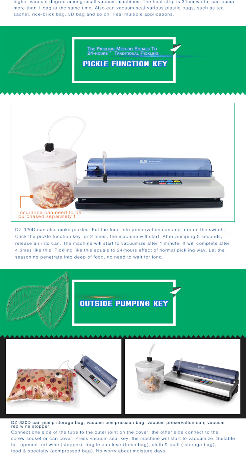 US$ 116 06 Blueberry DZ-320D 220v Cutting Blade Automatic Household Food  Vacuum Bag Sealer