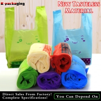 50 PCS 0.05mm Food Grade PE Plastic Personalised Shopping Bags Supermarket Vest Bag for Grocery