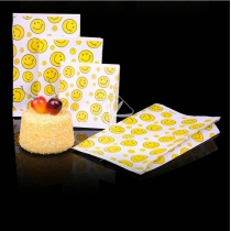 90 pcs Greaseproof Paper Smilling Face Fast Food Packaging Chips Take Away Bags Suppliers