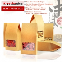 5 pcs 8x15.5cm Food Grade Kraft Paper Boxes Collapsible Paper Box Clear Window