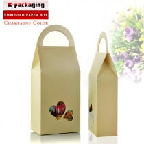 5 pcs 11x23cm White Embossed Paper Handle Wooden Craft Boxes with Clear Heat-shaped Window