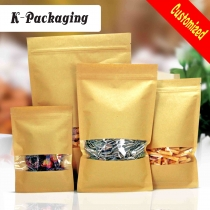 5 pcs 3-side Seal Food Grade Ziplock Brown Kraft Paper Bag Snack Pouches with Clear Window