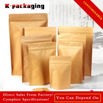 5 pcs Ink-jet Printable Stand up Ziplock Brown Kraft Food Packaging Supplies Whole Bulk Paper Bags