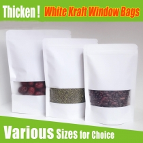 5 pcs White Kraft Candy Bags with Clear Window Matt Finished Zip Lock Kraft Bag for Food