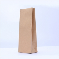 5 pcs Wholesales Plain Square Bottom Brown Kraft Food Pouch Craft Paper Bags for Tea
