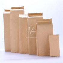 5 pcs Wholesales Side Gusset Foil Brown Kraft Paper Bags for Black Tea Reusable Coffee Tea Bag