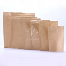 5 pcs Thick Plain Aluminium Foil Stand Up Ziplock Kraft Food Packaging Bag Paper Pouch for Tea
