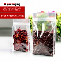 5 pcs Food Grade Plastic Clear Flat Bottom Bags Resealable Food Packaging