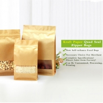 5 pcs Custom Kraft Paper Block Bottom Resealable Kraft Bags with Square Window