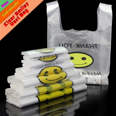 50 PCS 0.03mm Food Grade PE T Shirt Packaging Vest Shopping Bags for Supermarket with Smilling Face