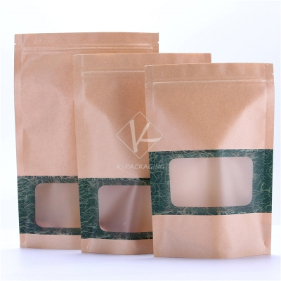 5 pcs Matt Printed Stand up Bulk Paper Bags Wholesale Resealable Food Packaging Bags with Window