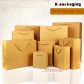5 pcs Custom Recycling Brown Kraft Paper Shopping Bags Reusable Grocery Bags with Handle Wholesale